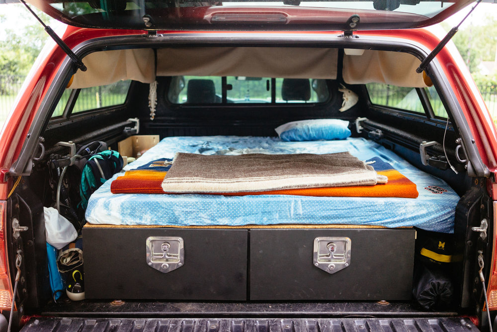 Truck Camping sleeping and storage option.