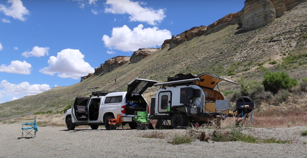 Truck camping can be greatly extended by adding a towable camper